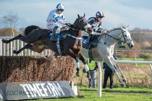 Jamie Hamilton, of Denholm, rides Tayzar to victory in the John Wade Chase at Kelso (picture by Alan Raeburn).