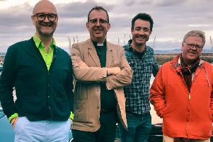 From left, David Harper, Richard Coles, Joe McFadden and Phil Serrell on Celebrity Antiques Road Trip.