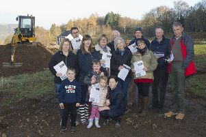 Objectors at the site of the proposed deveopment near Dingleton Road, Melrose.