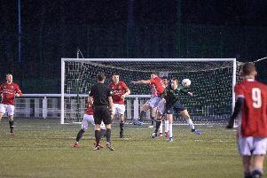 Gala FR's Ricky Miller, number five, helps to clear the ball away from his side's goalmouth (picture by Alwyn Johnston).