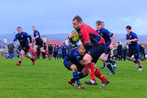 Russelll Morton bursts down the wing (picture: Newton Stewart)