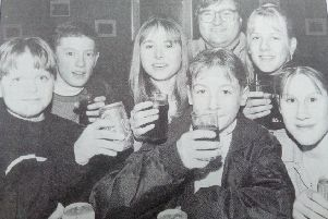 Youngsters at the Ewe and Lamb in Hawick, 1994.