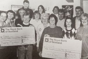 Darts players from Earlston's White Swan, in 1994.