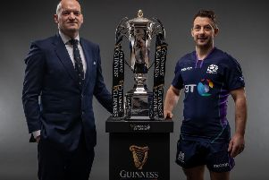 Scotland head coach Gregor Townsend and Jedburgh's Greig Laidlaw, the team's captain, with the Six Nations trophy. Photo �INPHO/Billy Stickland