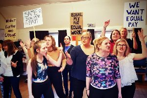 Members of Selkirk Musical Theatre Company in rehearsals for this year's production of Made In Dagenham.