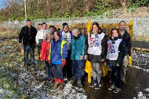 Eleven Gala Waterways Group volunteers last Saturday continued clearing vegetation at the Skinworks Cauld beside B&Q in Galashiels.