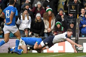 Stuart Hogg scores a try against Italy which was disallowed (picture by Stu Forster/Getty Images)