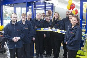 Staff at Bargain Buys Hawick at its official opening. Cutting the ribbon was manager Vicky Ballantyne, fourth from right.