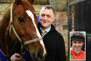 Stuart Coltherd with Captain Redbeard shortly before last week's winning performance at Kelso Races. Inset, Sam Coltherd (pictures by John Smail)