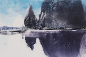 Moving Mountain No. 2 Lofoten Islands monoprint by Kate Downie, part of a special exhibition and demonstration - Ages of Wonder: Original'Prints and the Art of Etching at the Borders Art Fair to be held in Kelso on March 15-17.