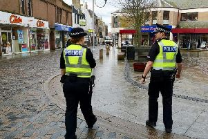 Police officers have been speaking to shop owners in Peterhead