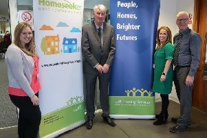 From left: Emma Gallacher (Housing Services), Housing and Maintenance Services Convener, Councillor Danny Devlin, Suzanne Conlin (Housing Services) and John Kelso (Housing Services)