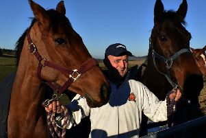 Stuart Coltherd pictured between the same week's Coltherd Racing winners - Graystown (on left) and Budarri (picture by John Smail).