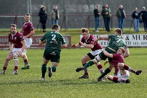 Action from Saturday's free-entry friendly at Netherdale between Gala and Hawick, which the visitors won 10-26 (picture by Alwyn Johnston).