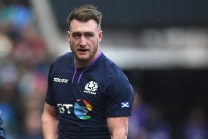 Stuart Hogg leaves the field on February 9 with an injured shoulder - which has ended his contribution to Scotland's Guiness Six Nations campaign (photo by Stu Forster/Getty Images)
