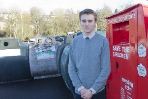 Jedburgh councillor Scott Hamilton at the town's bottle banks in the bus station car park.