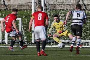 Ruairi Paton (number 9) slots home a penalty for Gala Faairydean Rovers against East Stirlingshire.