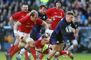 Darcy Graham in action against Wales at BT Murrayfield (picture by Ian MacNicol/Getty Images)