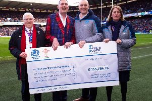 From left, Welsh Rugby Union president Dennis Gethin, Doddie Weir, former Scotland and Glasgow Warriors captain Al Kellock and Scottish Rugby Union president Dee Bradbury at Murrayfield at the weekend.