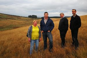 Pictured at the Pines Burn wind farm site are, from left, B&B boss Eileen Walsh, Energiekontor's Duncan Taylor, builder William Rodger and Hawick community councillor Andy Maybury.