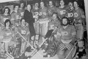 Fife Flyers 1977-78 -  the team collect the Slapshot Trophy which was on offer to promote the legendary ice hockey film which had just been released, starring Paul Newman. They beat Murrayfield Racers in a game televised by Scotspsort on STV, and shown on Boxing Day.