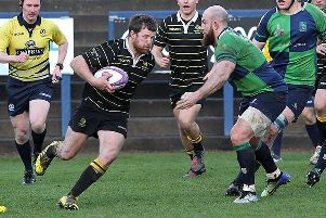 Grant Runciman, captain, on the ball for Melrose in their last match against Boroughmuir.