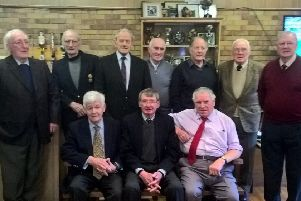 Back, from left - Billy Murray, John Elliot, Graham Crawford, George Maxwell, John Armstrong, Joe Donaldson,George Sadler. Front, from left - Gilbert Davidson, Christie Elliot, Zander Turnbull.