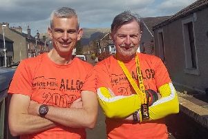 Calum Stewart, left, and Frank Birch, of Lauderdale Limpers, who tackled the Alloa Half Marathon.