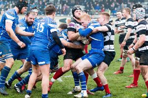 Tight, close-up action in the Borders derby between Kelso and (in blue) Jed-Forest (picture by Gavin Horsburgh).