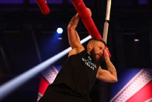 Ali Hay in action on the Ninja Warrior UK obstacle course.