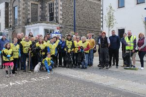 Volunteers taking part in a clean-up in Selkirk at the weekend.