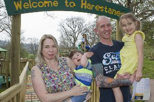 MacLeod family, Steven, Charmaine, Emrys and Annabelle from Galashiels at Harestanes playpark.