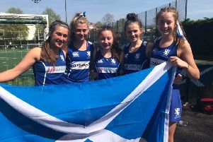 The five U16 Borders hokcey girls - Molly Morris, Livvy Hogg, Molly Byers, Holly Shepherd and Erin Lawrence.