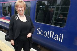 Borders MSP Christine Grahame at Tweedbank railway station.