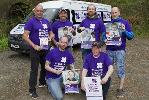 The intrepid crew with a minibus donated for the day by Cook's Van Hire in Newtown ' back row from left, Sean Fraser, Barry Simpson, Lee Sinclair and Jamie Revels and, front,  James Mains and Alan Morrison. Not pictured are Cameron Rice, Gordon Grant, Chris McCabe and Stuart Thornton.