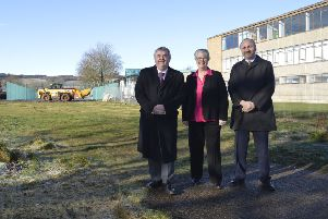 Scottish Borders Council convener David Parker, ex-councillor Frances Renton and Nile Istephan, chief executive of Eildon Housing Association, at the former Earlston High School site.
