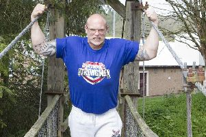 Paul 'the Bad Boy' Benton at Riverside Park in Jedburgh for a launch event ahead of next month's contest to find the strongest man in Scotland.