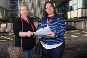 Parents Christine Irvine, right, and Judith Currie presenting their petition to Scottish Borders Council in March.
