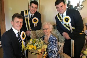 Melrosian-elect Ben Magowan visits Kathleen Dun with his right and left-hand men.