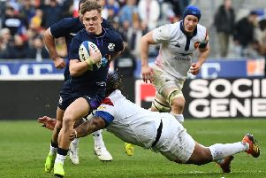 Darcy Graham in action against France in Paris in this year's Six Nations (picture by ANNE-CHRISTINE POUJOULAT/AFP/Getty Images).