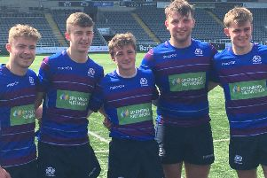 Left to right, Kieran Clark,, Ben Pickles, Cammy Scott, Archie Bogle and Christian Townsend. Kieran and Chrsitian are both with Melrose RFC (picture by Alan Bogle).