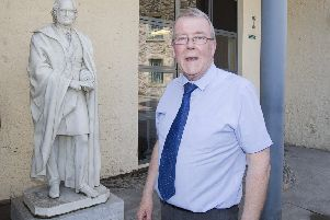 Councillor George Turnbull at the James Wilson statue at Tower Mill, Hawick.