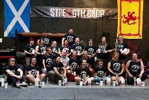 A record number of entrants including Steph Dekker (front, third from left) contested this years Scotlands Strongest Woman contest (Pic courtesy of Strength Shop, Motherwell)