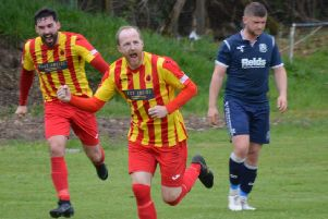 Stephen McGladrigan celebrates after netting Rossvale's third at Dalry (pic by HT Photography/@dibsy_)