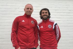 Neil Hastings, left, and Eddie Mangan, the  new management team at Gala Fairydean Rovers.