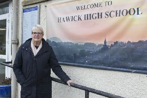 Councillor Clair Ramage at Hawick High School.