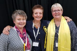 SNP candidate Heather Anderson, centre, seen enjoying the count with fellow SNP councillors Elaine Thornton Nichol and Claire Ramage.