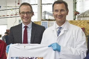 Borders MP John Lamont with Jeremy Hunt in Galashiels in March.
