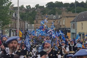 Thousands of indepedence supporters filled the streets of Galashiels yesterday in the All Under One Banner event.