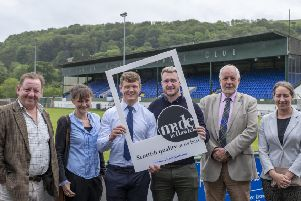 Promoting Made in Hawick are, from left, the Borders Distillery's John Fordyce, project manager Sarah Macdonald, Darcy Graham, Stuart Hogg, Future Hawick chairman Derick Tait and Lesley Landels of Love Scottish Candles.  (Photo: Rob Gray)